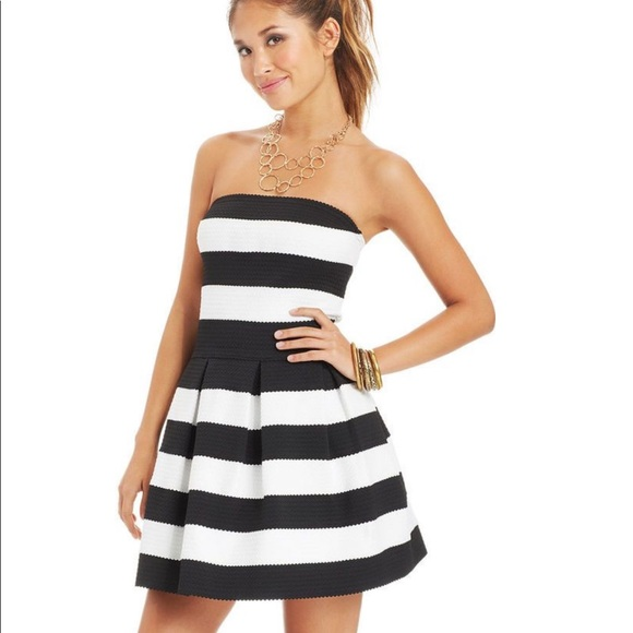 77872f61787a B Darlin Dresses | Juniors Black White Striped Dress | Poshmark